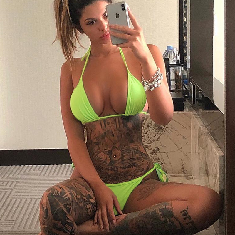 Cryptographic Neon Fashion Women 39 s Sets Lace Up V Neck Halter 2019 Summer Swimwear Sexy Backless Outfits Two Pieces Set in Women 39 s Sets from Women 39 s Clothing
