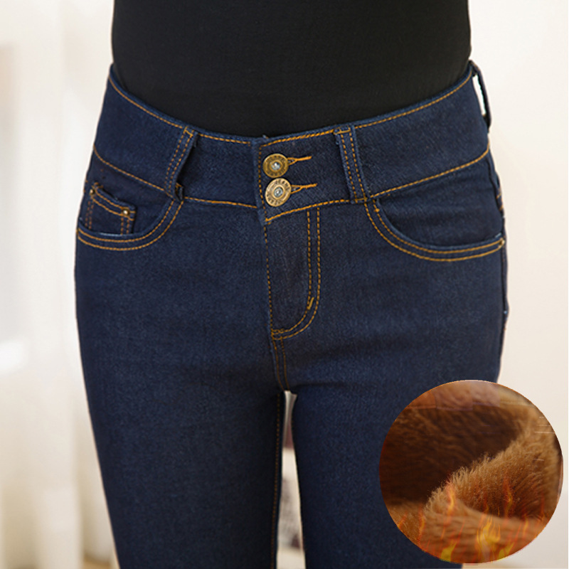Oversized Winter Warm   Jeans   Pants For Women Gold Fleeces Thickening Hot Denim Pants High Waist Mom   Jean   Trousers Female P9107