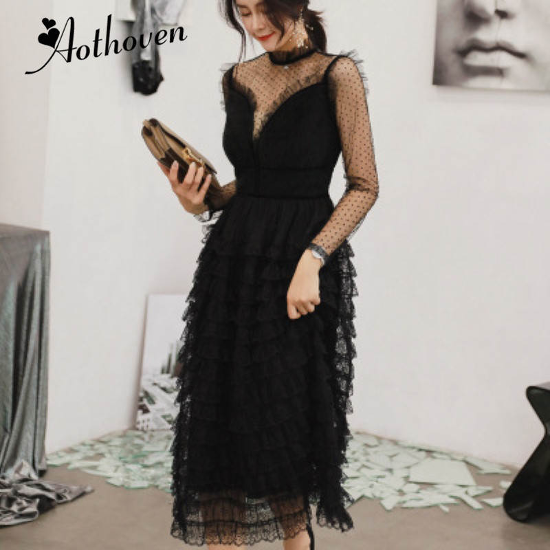 Autumn Cascading Ruffle Lace Dress Women Black Full Sleeve Stand Collar Elegant Office Lady Party Dress