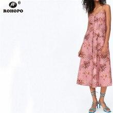 ROHOPO Women Sleeveless Strap Pink Print Midi Dress Single Breast Buttons Side Pocket Cute Pleated Dress Bandage Back #OYK9736 pocket side dress