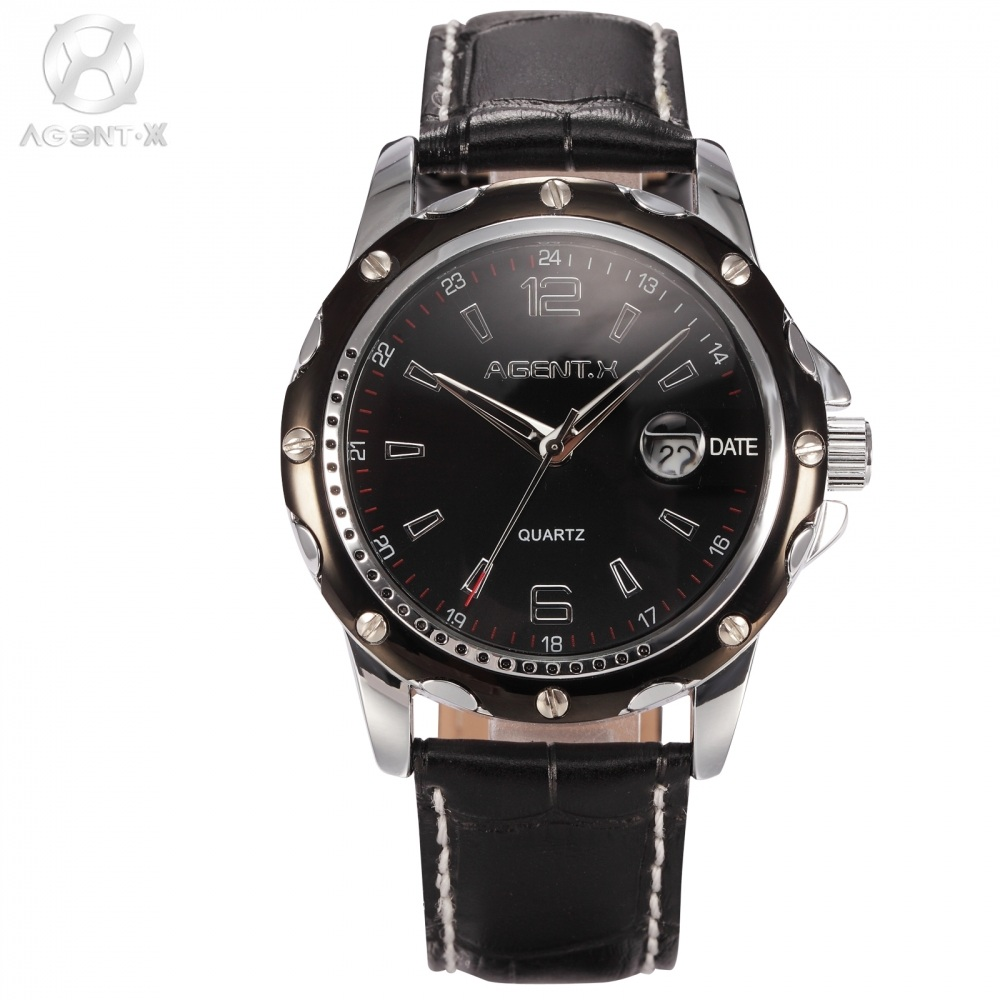 AGENTX Stainless Steel Silver Black Case Black Dial Analog Date Display Leather Band Quartz Men Casual Wrist  Watch Gift /AGX011 feiwo 8090g alloys plating analog quartz wrist watch for men black golden silver