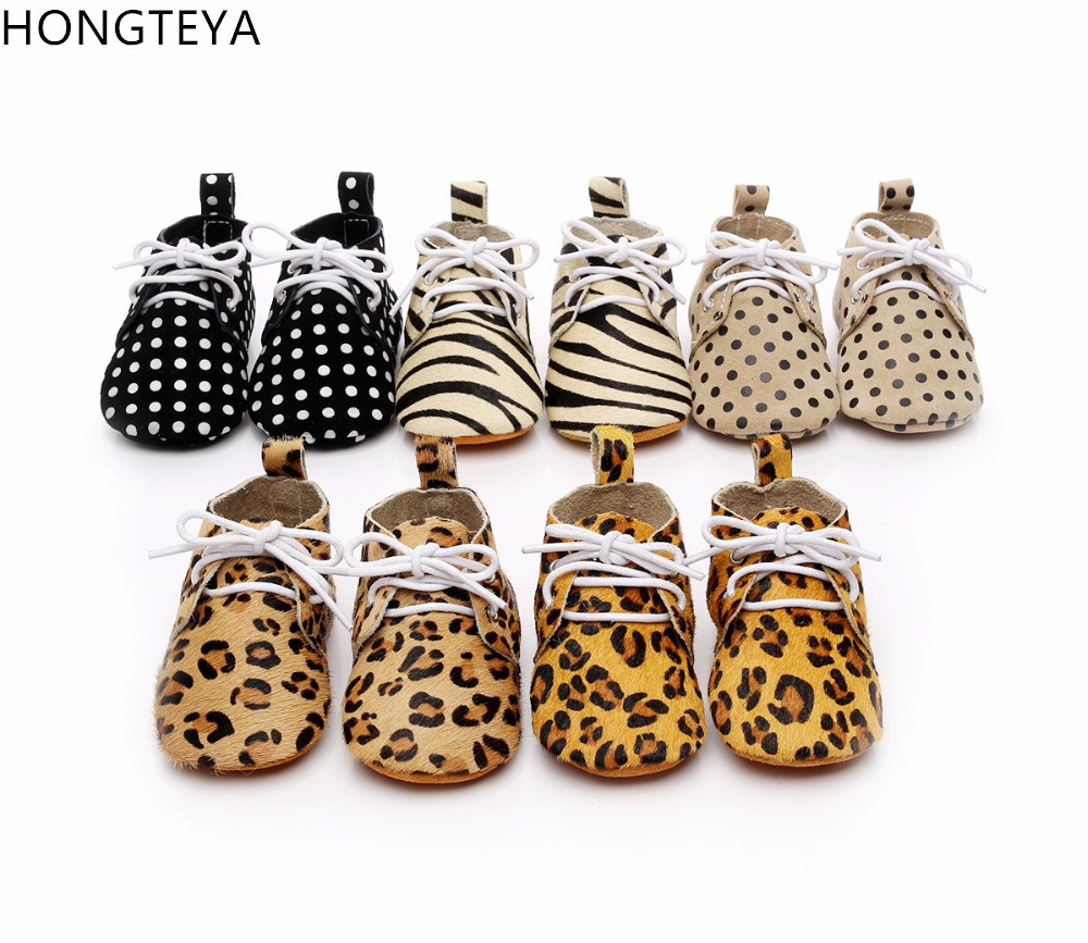 Hongteya Brand Cheetah Horse Hair 100% Cow Leather Polka Dot Suede Sole Shoes Baby Toddler Baby Moccasins Lace-up Baby Booties
