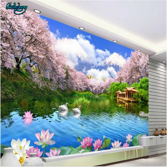Beibehang Very Beautiful High   Definition Cherry Lounge TV Background Wall  Living Room Sofa Fresco Custom