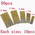 50 Unids Titanio Recubierto HSS de Alta Velocidad de Perforación de Acero Bit Set de Herramientas 1/1. 5/2/2.5/3mm Envío Libre