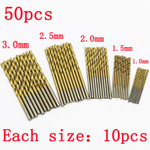 50Pcs Titanium Coated HSS  High Speed Steel Drill Bit Set Tool 1/1.5/2/2.5/3mm Free shipping