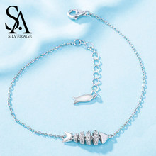SA SILVERAGE Real 925 Sterling Silver Rhinestones Link Bracelets & Fashion Bangles Fishbone Charm Bracelet Women Fashion Jewelry(China)