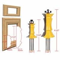 2pcs 2 Flutes Anti Kickback Router Bit Set 1 2 Shank Mitered Door Drawer Molding Woodwroking