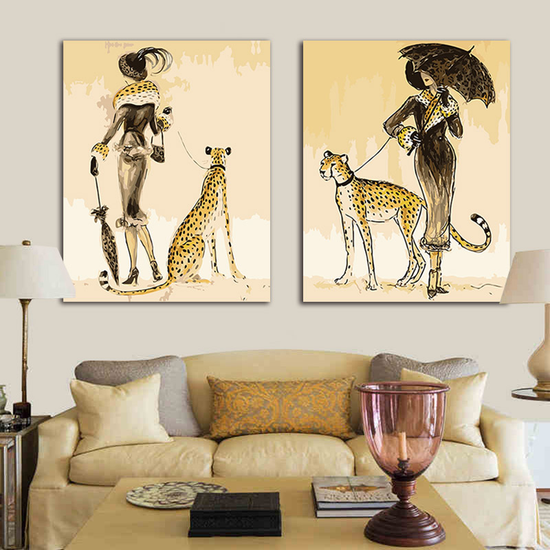 Bricolage peinture à l'huile photos par numéros 2 panneaux léopard élégant et dame avec des kits sur toile peintures à colorier par numéros encadrés