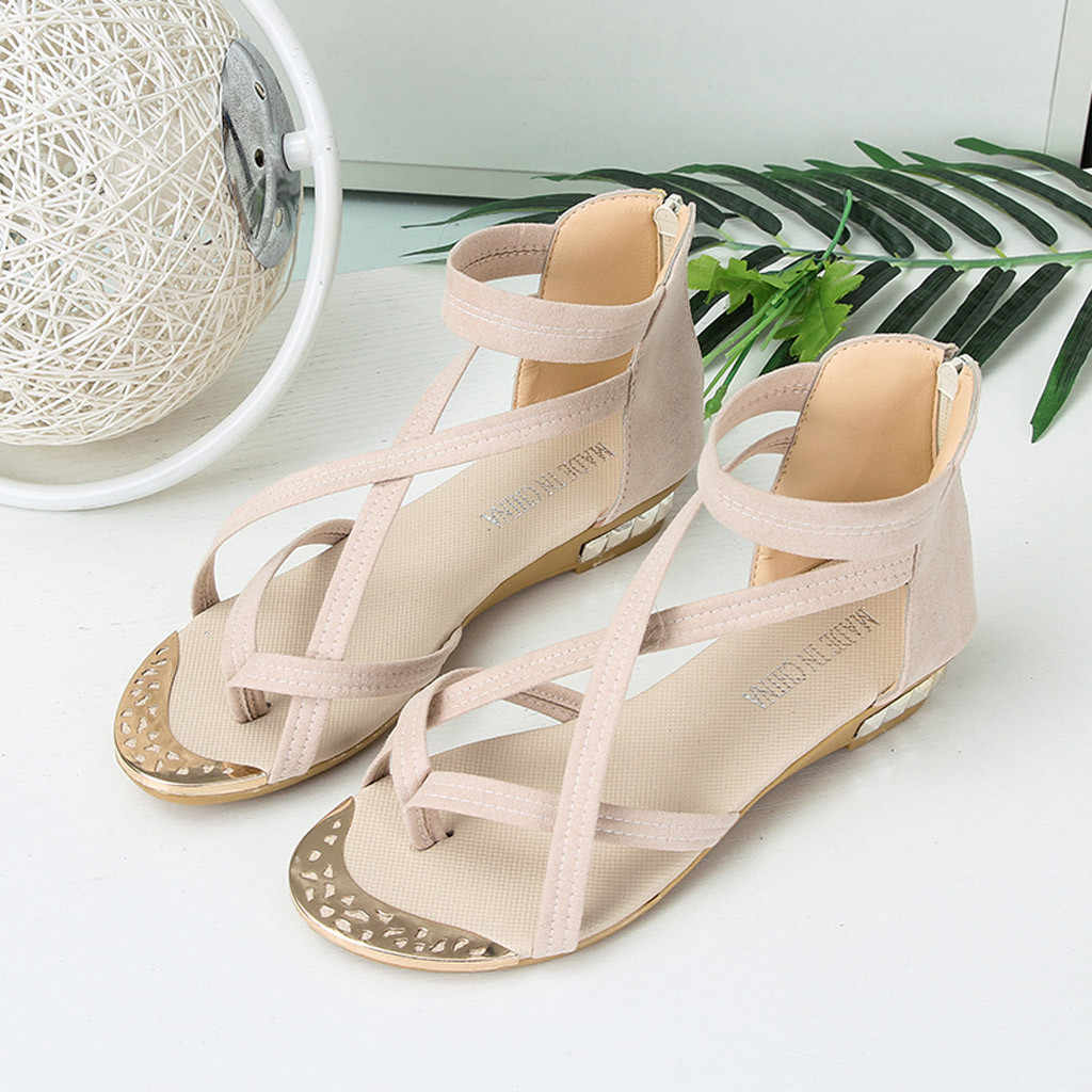 CHAMSGEND hot summer women's Roman fish mouth wedge zipper breathable sandals fashion open toe outdoor sandals