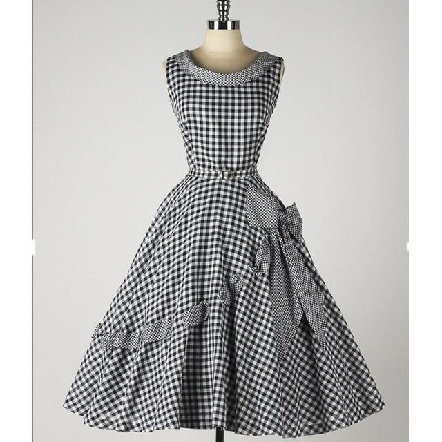 40- summer women 50s robe vintage inspired gingham side bow swing dress  rockabilly pinup plus size vestidos dresses jurken f65ab9851083