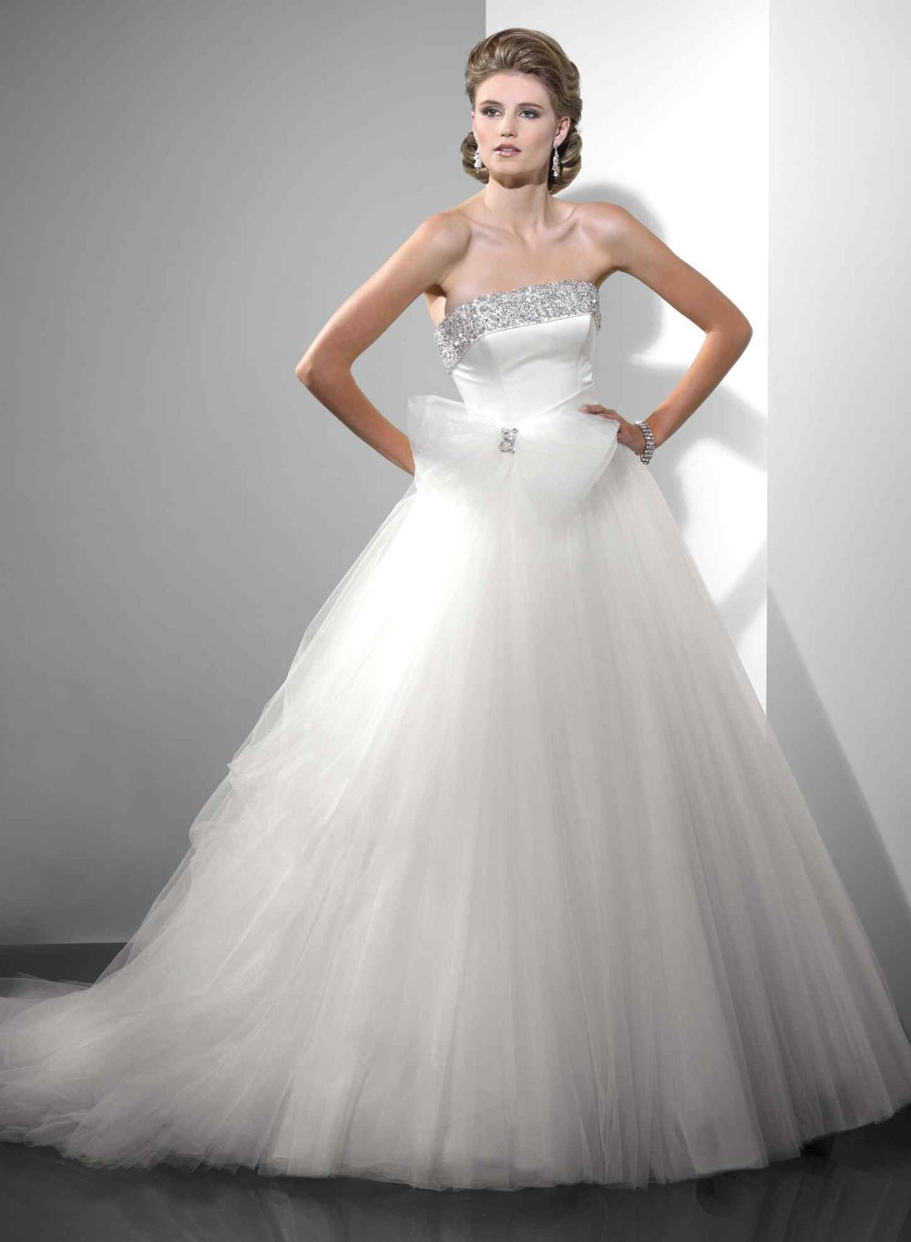 vestido de noiva robe de mariee Fashion Strapless Bow Lace Up Tulle Ruffle Ball 2018 cheap Wedding dresses bridal Gowns in Wedding Dresses from Weddings Events