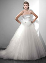 11-24 Fashion Strapless Bow Lace Up Tulle Ruffle Ball Wedding Gowns