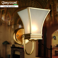 Qiseyuncai Europe and the United States style copper wall lamp mirror background study bedroom bedside copper lamp lighting
