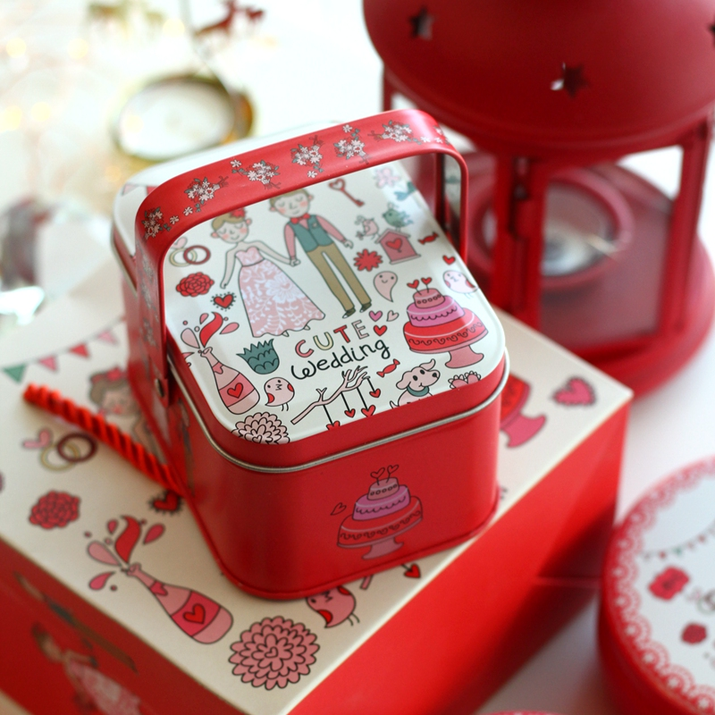 Handle Red Cartoon Bride And Groom Wedding Candy Tin Box Metal Storage Organizer For Jewelry Kids Gift Home Storage Box