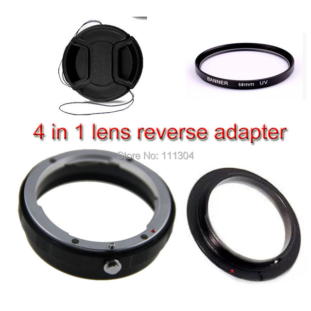 4in 1 58mm kit anel de proteção reversa adaptador de lente Macro para canon 5d 6d 60d 70d 600d 650d 700d 1200d 58mm filtro UV lente cap