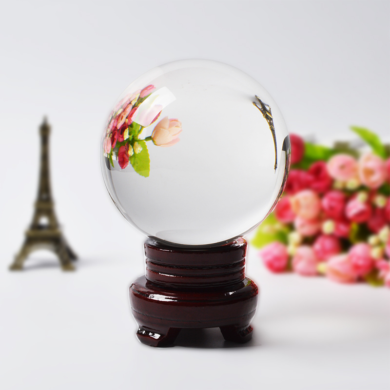 100MM Round Rare Clear Photography Glass Ball Artificial Crystal Healing Decoration Ball Feng Shui Decor Sphere