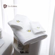 Liv-Esthete 2019 New Wholesale Nordic Crown 100 % Cotton White Towel Super Soft Quickly Dry Adult Kids Bath For Bathroom