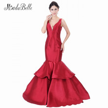 modabelle Real Photo Satin Long Prom Evening Dress Burgundy Mermaid Trumpet Style Ladies Party Gown Robe De Soiree Elegante 2018