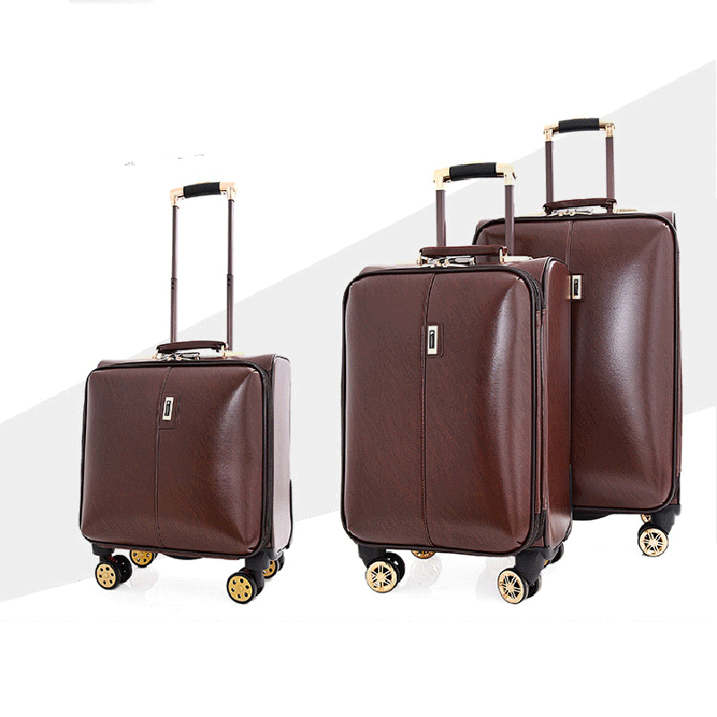 LeTrend PU Leather Rolling Luggage Spinner 16 inch Men Business Trolley Women Password Suitcase Wheels Cabin