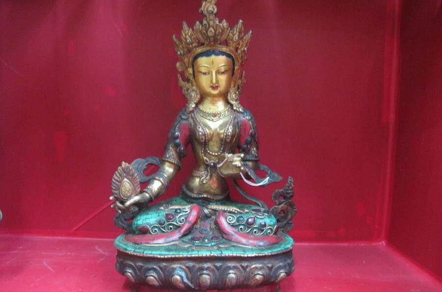 Tibet Pure Bronze Gold Inlay Turquoise Red Coral Kwan-Yin Bodhisattva Statue