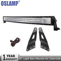 Oslamp 3 ряд 50 702 Вт изогнутые offroad светодиодный свет работы бар Combo горит бар для Chevrolet silverado для GMC Sierra 1500 пикап