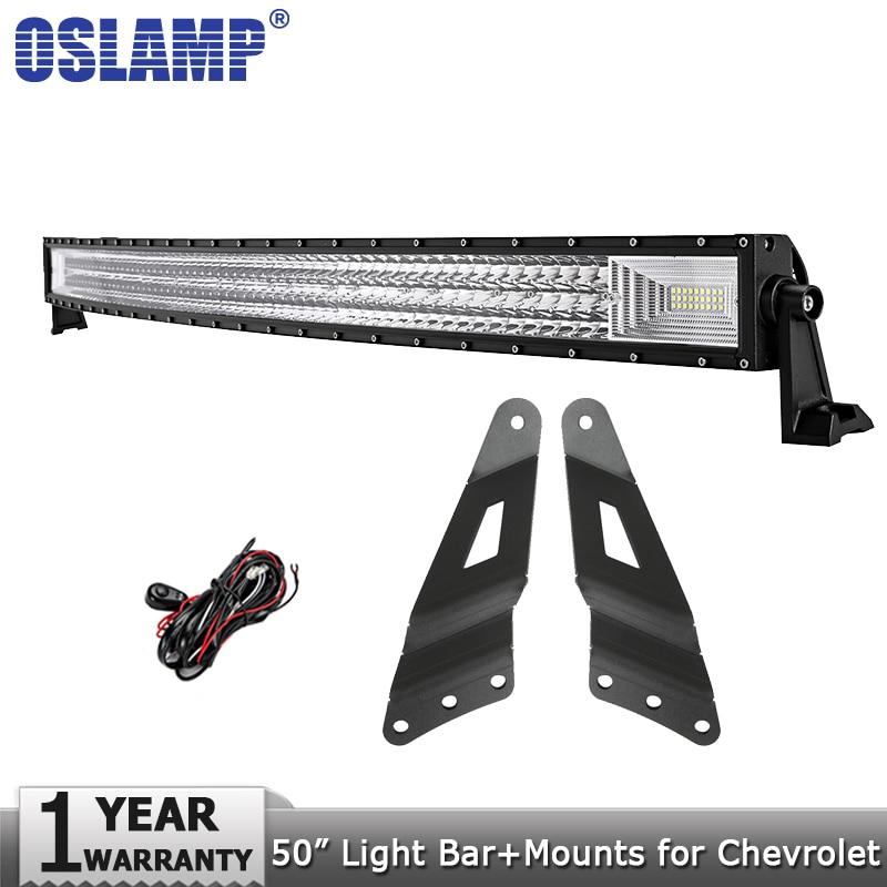 Oslamp 3-Row 50 702W Curved Offroad LED Work Light Bar Combo Led Bar Lights for Chevrolet Silverado for GMC Sierra 1500 Pickup