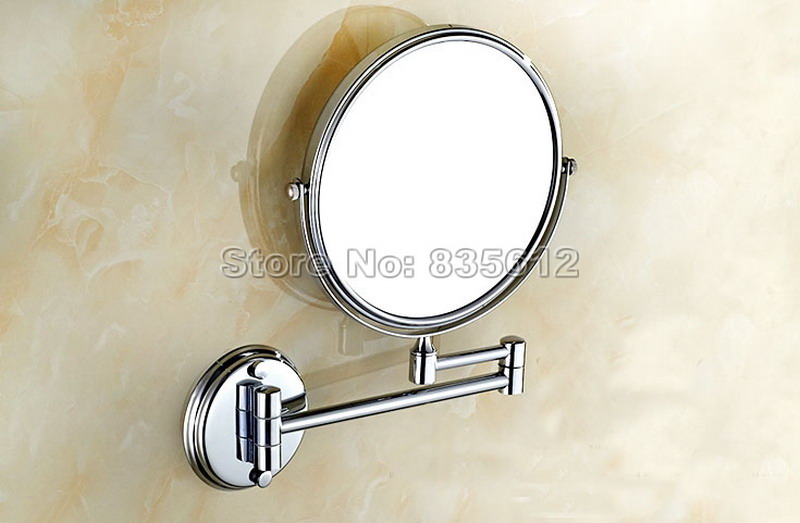 Dual Makeup mirrors 1:1 and 1:3 magnifier Chrome Cosmetic Bathroom Double Faced Bath Mirror wall mirror Wba626