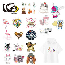Cartoon Lovely Animals Iron On Heat Transfer Patches For Kids Clothing 3DDIY Stripes Applique T-shirt Custom Stickers Appliques