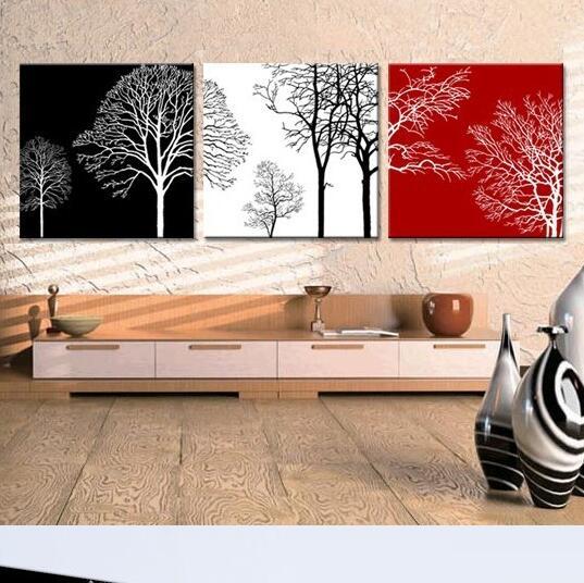 3 pe as hot vendre mur moderne peinture arbre de vie peintures pour le salon d coration murale. Black Bedroom Furniture Sets. Home Design Ideas