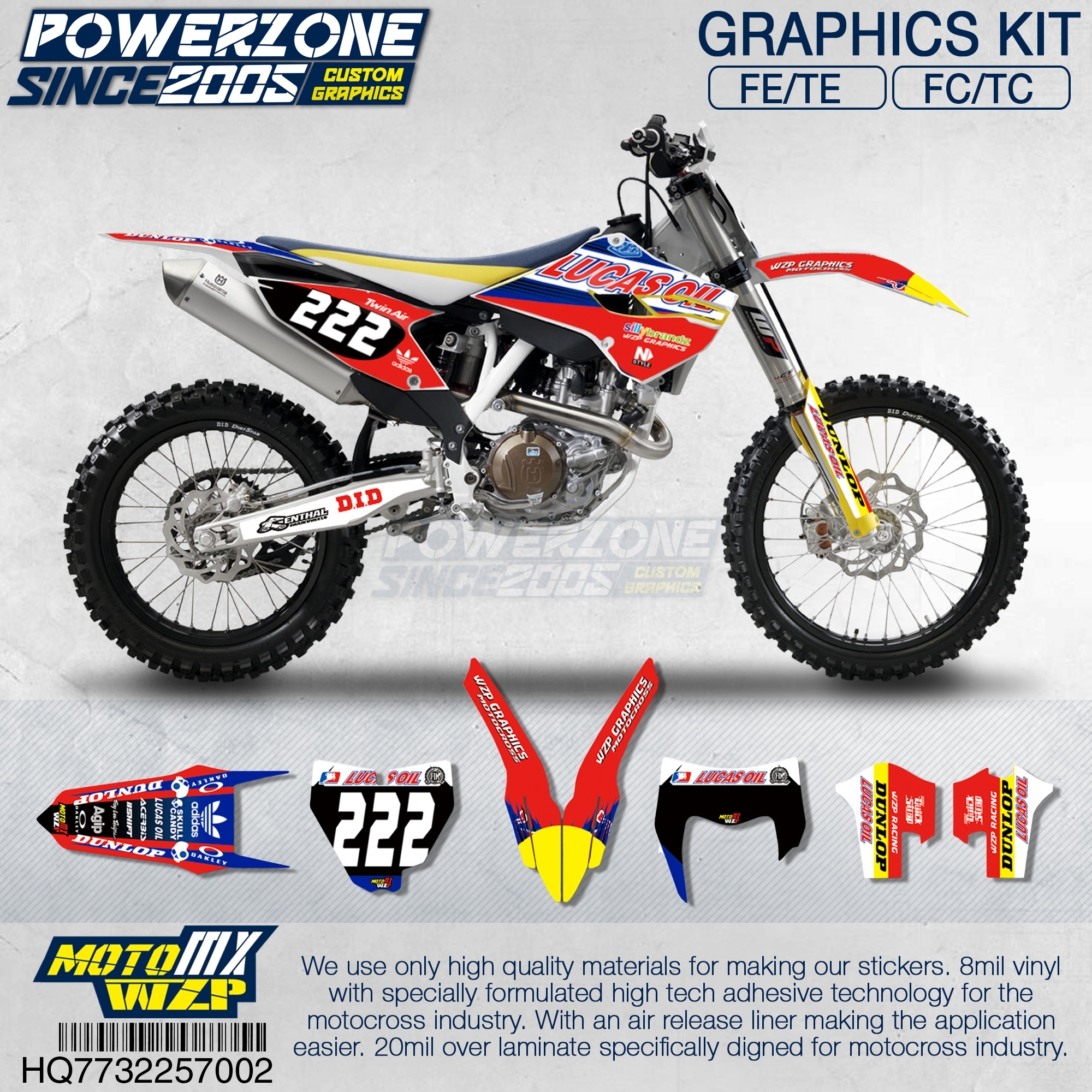PowerZone Customized Team Graphics Backgrounds Decals 3M Custom Stickers For Husqvarna 2014 To 2019 FE TE FC TC 250 To 500cc 02