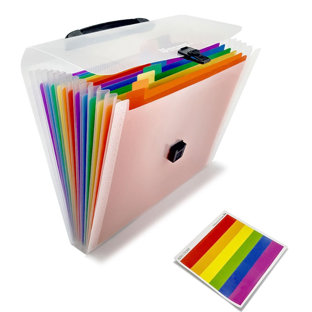 A4 File Organizer 13 Pockets Plastic Expanding Wallet Accordion Folders, Letter Size Portable Document Handbag Holder