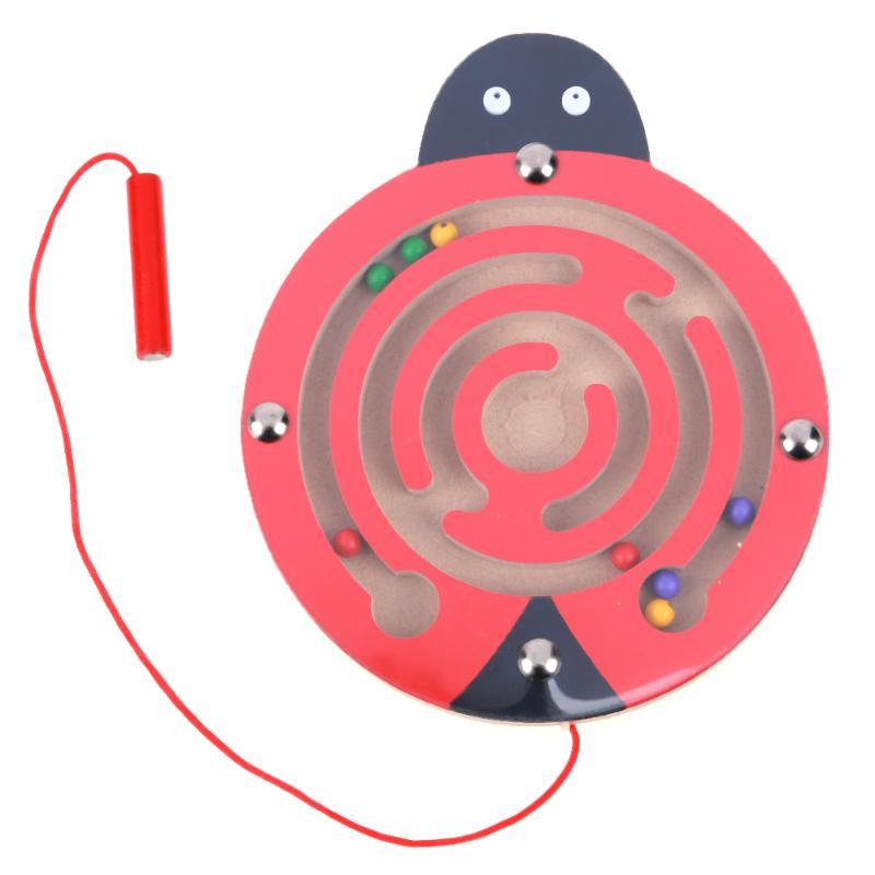 Kids Wooden Puzzle Magnetic Maze Intellectual Jigsaw Board Toy Development IQ Brain Teaser Maze Toy For Kids Gift