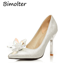 Bimolter New Fashion High Heel Bride Wedding Shoes Bling Crystal Women Pumps Elegant Princess Party Shoes Big Size 33-43 PXEA002 2017 new fashion bling bling party shoes for men custom made high heel wedding and party oxford shoes men s flat plus size 38 46