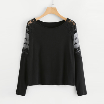 Gothic Shirt Long Sleeve Lace Pullover See Through Causal Blouses