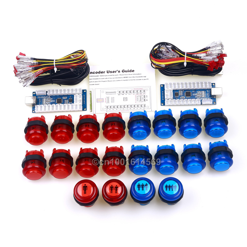 20 x Plastic LED Bulbs Arcade Button + 4 In 1 LED USB Encoder Circuit Board With Micro Switch For Raspberry Pi 1 2 3 Retropie 3B