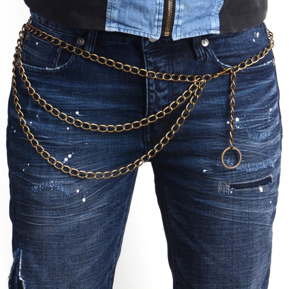 3 Std Trousers Men Lady Chain Jeans Wallet Keychain Punk Rock Hip Hop Waist Belt