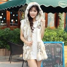 2015 fur rabbit fur vest with a hood medium-long slim fashion women's fur coat