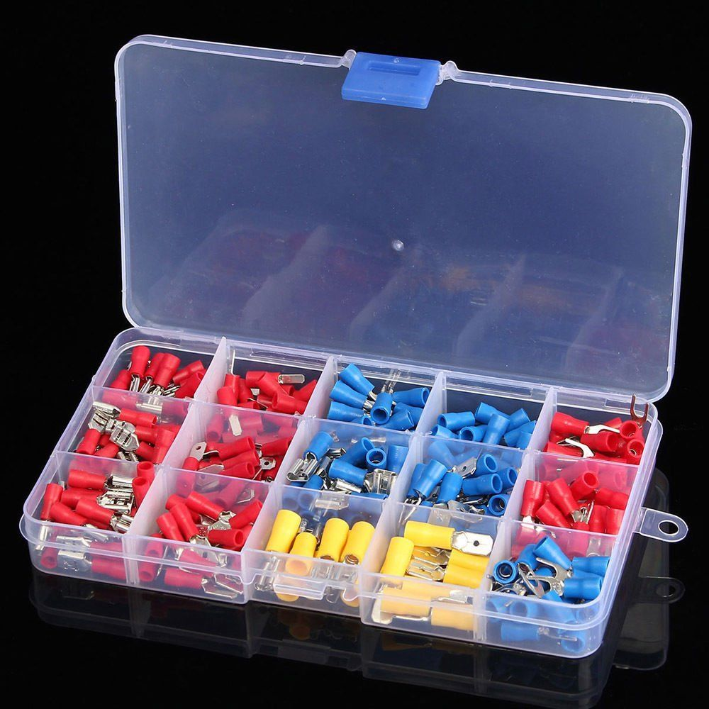 цена на 280Pcs Assorted Insulated Spade Crimp Terminal Electrical Wire Connector Set Red Blue Yellow
