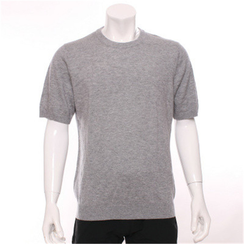 100%goat Cashmere Oneck Knit Men Fashion Short Sleeve Pullover Sweater H-straight Solid Color S/2XL