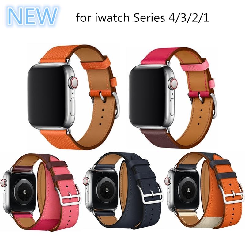 Para la serie de Apple 4 Doble Tour reloj correa de cuero genuino banda de reloj para Apple Watch 1 2 3 4 herm pulsera 40mm 44mm