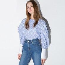 New 2017 European Autumn Women Casual Blue Shirt Blouse Lantern Sleeve Striped Sweet Ladies Tops Cotton Shirt chemise femme 1607
