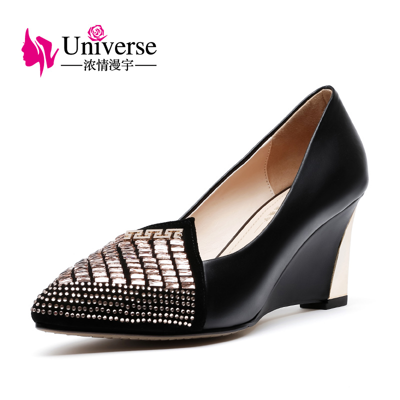 Universo cristal boda bombas cuña otoño primavera Slip on cuero genuino superficial desnudo Rojo Negro tacón Mujer Zapatos vestido c008 - 3