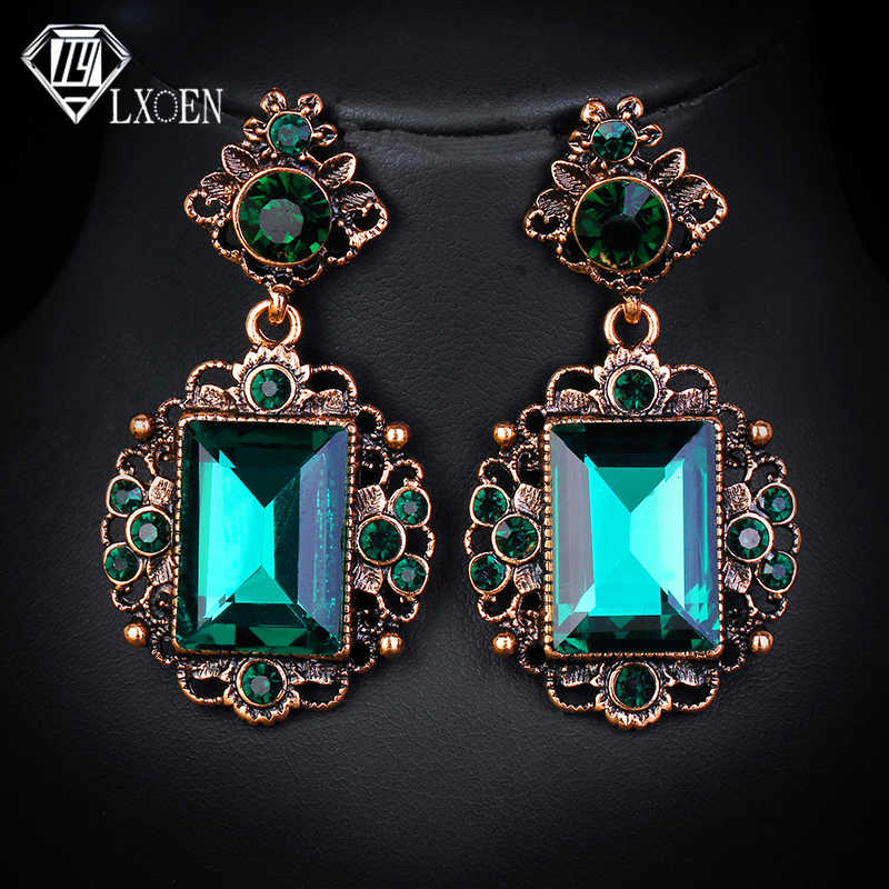 LXOEN Vintage Ethnic Green Stone Drop Earrings for Women with Square Crystal Earings Gift Oorbellen  African Earrings