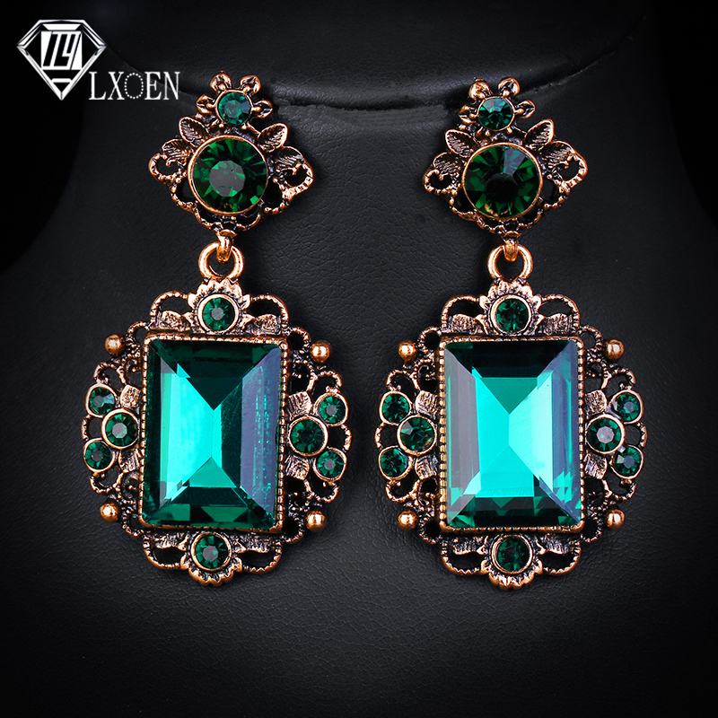 LXOEN Vintage Ethnic Green Stone Drop Earrings for Women with Square Crystal Earings Gift Oorbellen African Earrings(China)