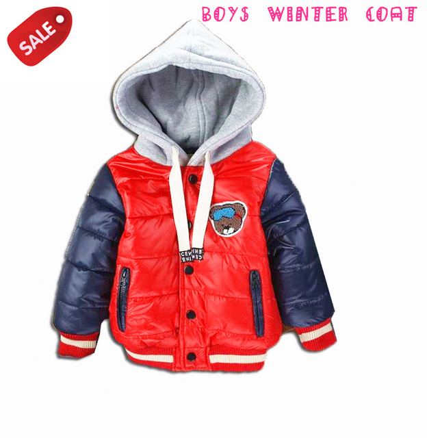 2015 Brand New children outerwear baby boy's winter thick warm fleece lining hoodies outerwear coat bebe cotton-padded jacket