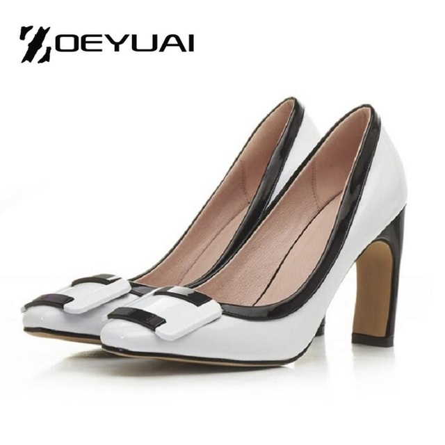 Fashion Woman Buckle Special Thick High Heel Women Pumps Color Block Decoration Women's Medium Heel  OL Office Shoes Size 10.5