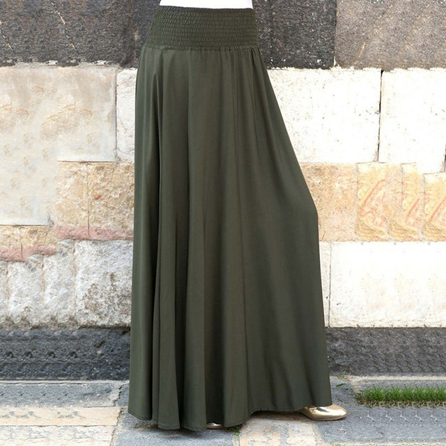 Fashion Women's skirt skirts womens jupe femme faldas mujer moda Elastic Waist Solid Pleated Vintage A-line Loose Long Skirts Z4 6