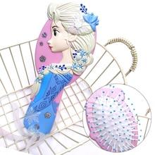 Cepillo de pelo congelado princesa de Disney brosse Chevaux niños cepillo antiestático suave enredo rizado sirena cerdas mango peine de enredo