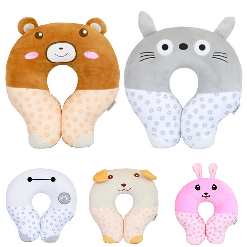 Lovely Animal U Shape Children Neck Pillow Car Head Rest Neck Pillow Cushion Pillows Travel Home Office Accessory functional inflatable u shaped pillow car head neck rest air cushion for travel free shipping