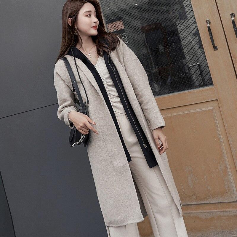 2019 Новое Двустороннее пальто с капюшоном, Женское шерстяное пальто из чистой шерсти, тонкая ветровка с капюшоном